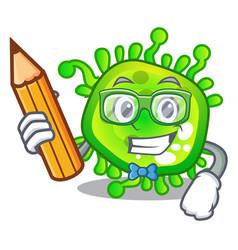 Student cartoon microba virus bacteria in body vector