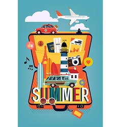 Summer Vacation on an Open Suitcase vector image
