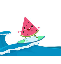 summer watermelon surf funny surfing happy vector image