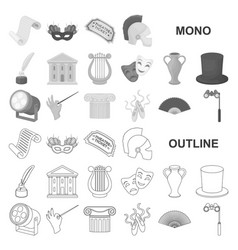 Theatrical art monochrom icons in set collection vector