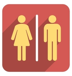 Toilet People Flat Rounded Square Icon with Long vector