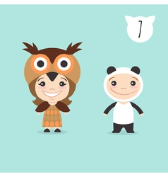 two happy cute kids characters Boy in panda vector image