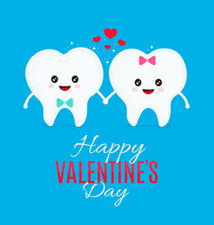 two loving teeth flat cartoon vector image