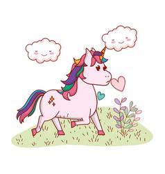 unicorn in a yard vector image