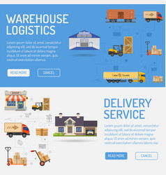 Warehouse delivery and logistics banners vector