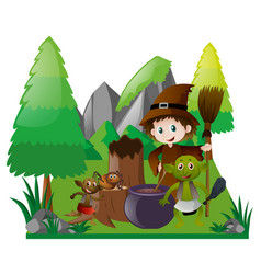 witch and elf with magic brew vector image