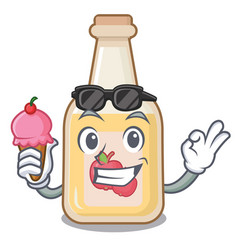 With ice cream apple cider isolated with the vector