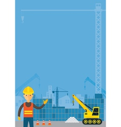 Worker and Construction Background Frame vector