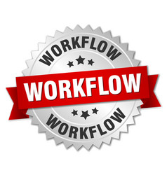 Workflow round isolated silver badge vector