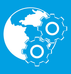 World planet and gears icon white vector