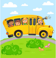 yellow bus with children vector image