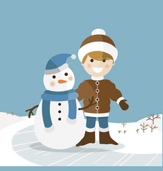 happy boy with his snowman on a sunny winter day vector image vector image