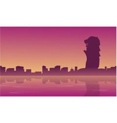 landscape of singapore city skyline silhouettes vector image