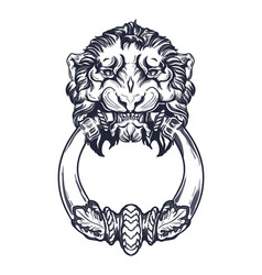 lion head door knocker hand drawn vector image