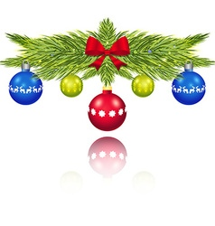 Pine branches with Christmas balls vector image vector image