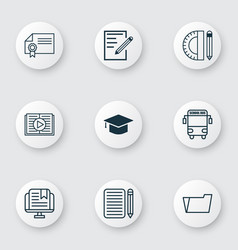 Set of 9 education icons includes e-study taped vector