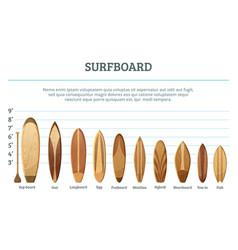 set of different hawaiian surfboards vector image