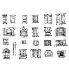 set of various window shapes vector image