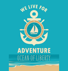 travel banner with anchor sailboat and ships helm vector image vector image