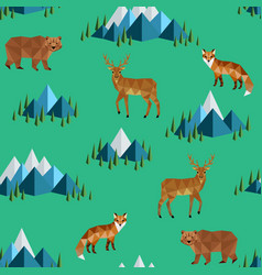 wild animals and mountains vector image vector image