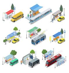 city public transport isometric 3d set vector image