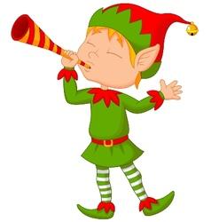 Elf cartoon with trumpet vector image vector image