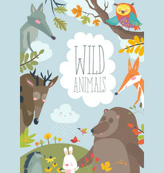 nature frame with trees animal and birds vector image vector image