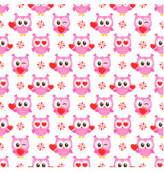 pattern with pink owls with hearts vector image