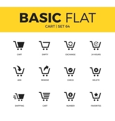 Basic set of cart icons vector