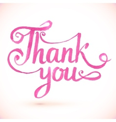 Pink thank you hand-drawn sign vector