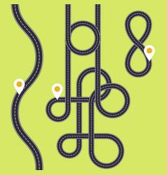 Road interweaving of loops - highway interchange vector