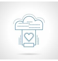 Cloud services blue flat line icon vector image