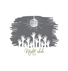Hand drawn raised hands under disco ball in club vector