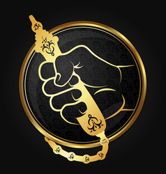 hookah in the hand of gold vector image
