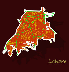 lahore city map color sticker panoramic vector image vector image