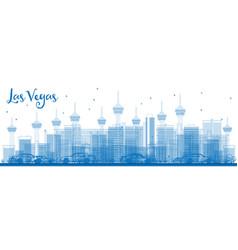 Outline las vegas skyline with blue buildings vector