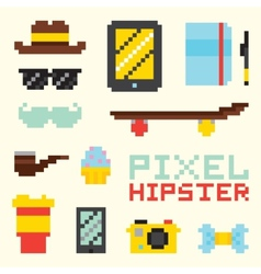 Pixel hipster isolated objects vector image vector image