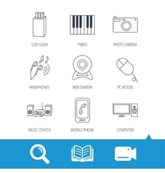 Smartphone web camera and USB flash icons vector image