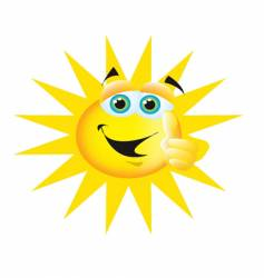 thumbs up sun vector image vector image