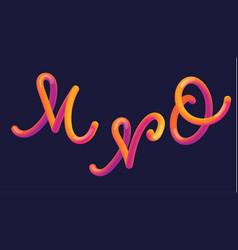 3d gradient lettering font set with letter - m n vector