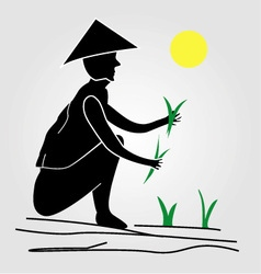A farmer working in rice fields under the sun vector
