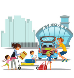 airport transfer happy family mother with kids vector image