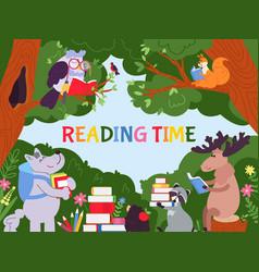 Animals reading background cartoon animal read vector