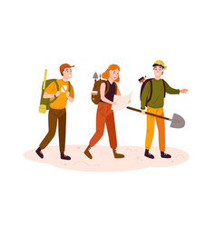 archeologists team researchers group flat vector image