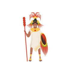Aztec warrior man character in traditional clothes vector