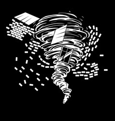 black and white drawing of a destructive tornado vector image
