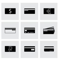 black credit card icons set vector image