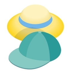 Blue baseball cap and straw hat icon vector image