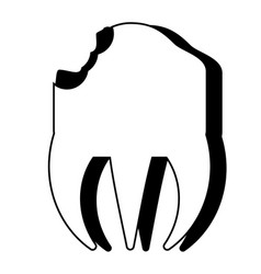 Broken molar icon vector