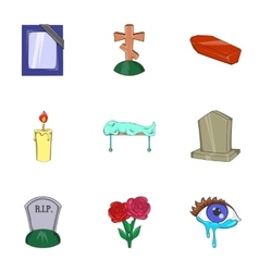Burial icons set cartoon style vector
